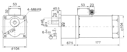 Drawing of 120W Geared Motor with Junction Box, Shaft Size 18mm
