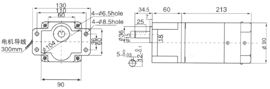 Drawing of 140W GS Variable Speed Geared Motor with Brake