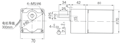 Drawing of 15W Constant Speed Geared Motor