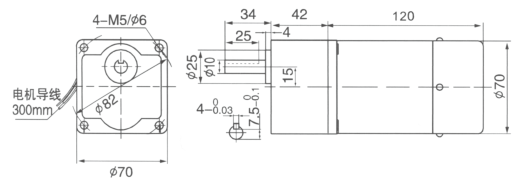Drawing of 15W Constant Speed Geared Motor with Brake