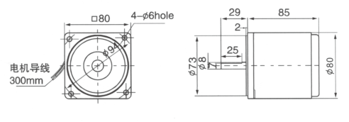 Drawing of 25W Circular Shaft Geared Motor