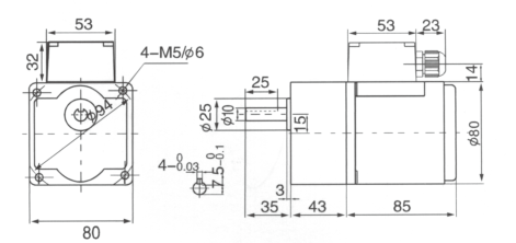 Drawing of 25W Geared Motor with Junction Box