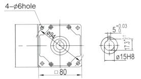 Drawing of 4GN 25W Right Angle Geared Motor with Hollow Output Shaft