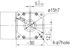Drawing of 5GU 40W to 140W Right Angle Geared Motor with Solid Output Shaft