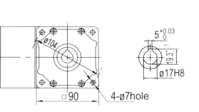 Drawing of 5GU 40W to 140W Right Angle Geared Motor with Hollow Output Shaft