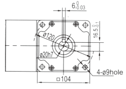 Drawing of 6GU 120W to 300W Right Angle Geared Motor with Solid Output Shaft