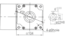 Drawing of 6GU 120W to 300W Right Angle Geared Motor with Hollow Output Shaft