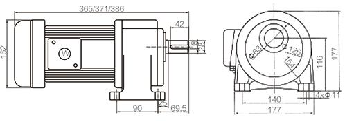 Shaft Size 28mm Medium Gear Motor Horizontal