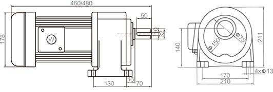 Shaft Size 32mm Medium Gear Motor Horizontal