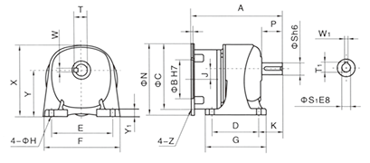 Drawing of GHM Gear Motor Reducer (Gearbox) Horizontal