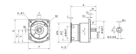 Drawing of GVM Gear Motor Reducer (Gearbox) Vertical